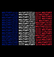 french flag pattern of military texts vector image