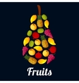 Fruits arranged in a pear shaped symbol vector image