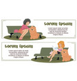 funny people girl with dog vector image vector image