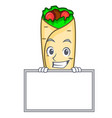 grinning with board burrito character cartoon vector image vector image
