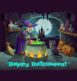 halloween witch pumpkin and potion cauldron vector image