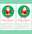 happy new year and merry xmas poster with santa vector image vector image