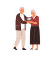 happy senior family couple hugging cute elderly vector image vector image