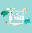 hello summer square blue sky background ima vector image