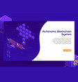 isometric blockchain technology banner concept vector image
