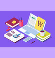 Isometric concept for blog blogging concept
