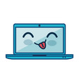 kawaii laptop computer icon vector image