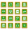 learning foreign languages icons set green vector image vector image
