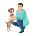 man and friendly happy dog vector image
