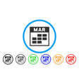 march calendar grid rounded icon vector image vector image