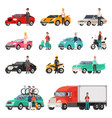 modern cars and truck with drivers beside set vector image