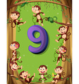 Number nine with 9 monkeys on the tree vector image vector image