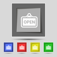 open icon sign on original five colored buttons vector image vector image