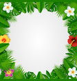 paper cut tropical floral frame vector image vector image