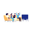 people watching tv students group together vector image vector image