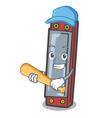 playing baseball harmonica character cartoon style vector image