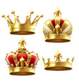 realistic gold crown crowning headdress for king vector image