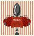 restaurant menu with spoon and red roses vector image