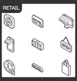 retail outline isometric icons vector image