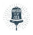 Retro ship bell tee design Vintage sea label vector image vector image
