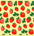 seamless pattern with strawberries and leaves vector image