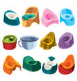 set toilets for children collection toilet vector image vector image