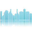 silhouette building city scape with water reflect vector image