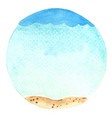 sky sea and sand beach in circle shape background vector image