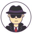 spy man avatar man in black hat icon spy man in vector image
