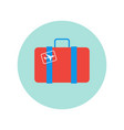 suitcase retro with plane sticker icon isolated vector image vector image