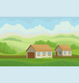summer rural landscape with village houses and vector image vector image