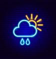 sun cloud rain drop neon sign vector image vector image