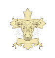 taurus bull christian cross drawing vector image vector image