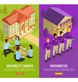 University Education 2 Isometric Vertical Banners vector image vector image