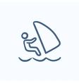 Wind surfing sketch icon vector image vector image
