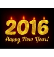 Golden glitter New Year 2016 candles vector image