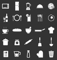 Kitchen icons on black background vector image