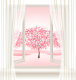 Pink cherry blossom tree view from a window vector image