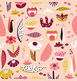 abstract flower collage style pattern tile vector image