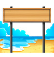 An empty wooden signboard at the beach vector image vector image