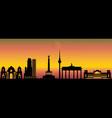 berlin night city skyline vector image