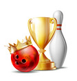 bowling game award bowling ball with golden crown vector image vector image