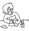 boy writing letter vector image vector image