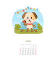 calendar 2018 months june with dog vector image vector image