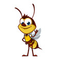 cartoon bee says hi vector image vector image