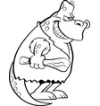 cartoon dinosaur dressed as a caveman vector image vector image