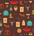 cartoon wild west signs seamless pattern vector image vector image