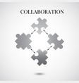 collaboration concept with four pieces of puzzle vector image