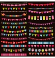 Colorful flags bunting and garland set on dark vector image vector image