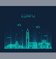 corfu skyline greece big city linear style vector image